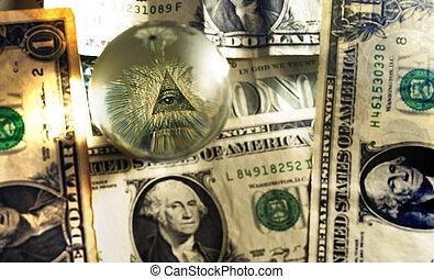 cuenta, albañil, dólar, pirámide, usd, ojo