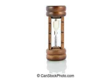 cuenta atrás, comienzo, madera, aislar, reloj de arena