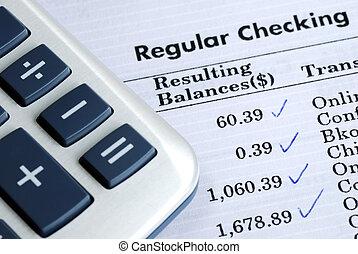 cuenta, balance, cheque bancario, declaración