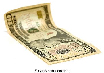 cuenta, dólar, diez