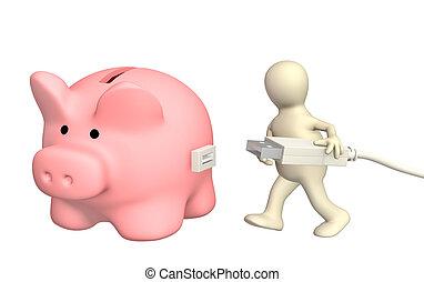 cuenta, electrónico, banco