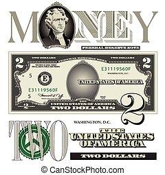 cuenta, elementos, dólar, dos