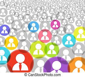 cuenta, multitud, iconos, medios, resumen, social