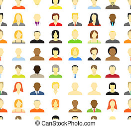 cuenta, women., iconos, hombres, seamless, colección, plano de fondo