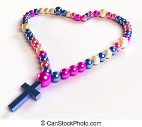cuentas, blanco, rosario, resumen, colorido