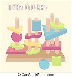 cuentas, bloques, de madera, educativo, juego, clavijas