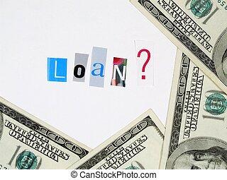 cuentas, dólar, cien, concepto, préstamo