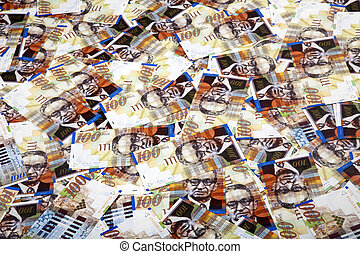cuentas, plano de fondo, shekels, uno, desordenado, cien