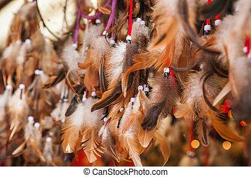 cuentas, plumas, encima de cierre, auténtico, dreamcatchers