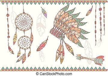 cuentas, receptor, plumas, mano, norteamericano, dibujado, ...