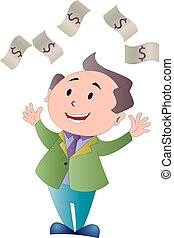 cuentas, riego, dólar, ilustración, hombre