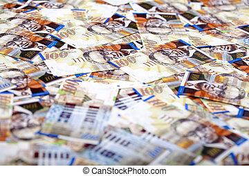cuentas, shekels, uno, plano de fondo, desordenado, cien