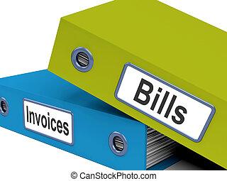 cuentas, y, facturas, archivos, exposición, contabilidad, y, gastos