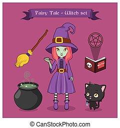cuento de hadas, bruja, conjunto