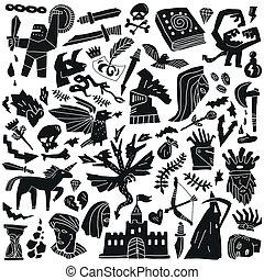 cuento, doodles, hada, -