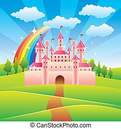 cuento, hada, vector, castillo, ilustración