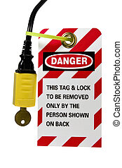 cuerda, cerradura, etiqueta, eléctrico, afuera