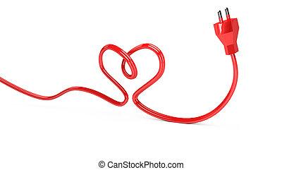 cuerda, corazón, 3d, eléctrico, contorno