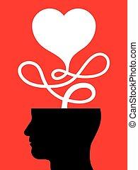 cuerda, corazón, cabeza, macho, unido