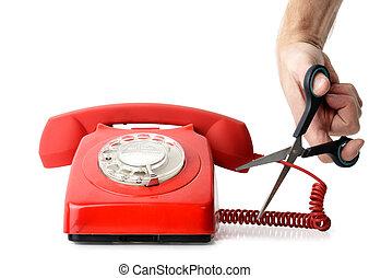 cuerda, corte, teléfono