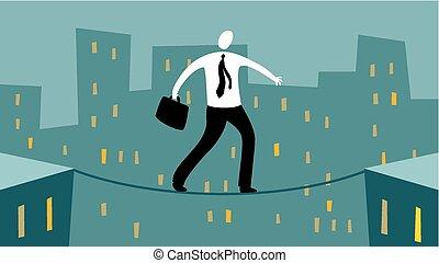 cuerda de equilibrista, hombre de negocios
