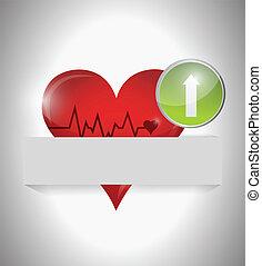 cuerda de salvamento, corazón, diseño, ilustración