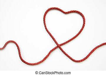 cuerda, forma corazón, hecho, rojo
