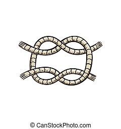 cuerda, marina, nudo, estilo, caricatura, vector, ...