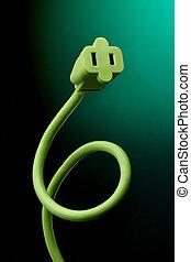 cuerda, verde, eléctrico