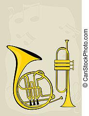 cuerno, notas, trompeta, francés