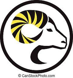cuerno, retro, sheep, rizo, lleno, círculo, memoria acceso ...