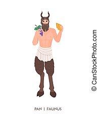 cuernos, deidad, antiguo, dios, mitológico, -, tenencia, ...