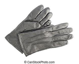 cuero, arrugado, guantes, aislado