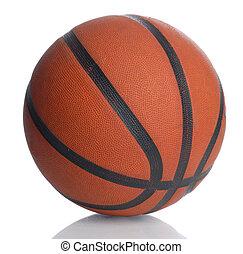 cuero, blanco, baloncesto, aislado, plano de fondo