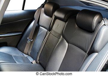 cuero, coche, espalda, asientos