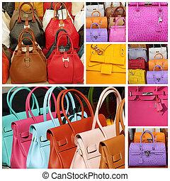 cuero, colorido, bolsos, colección