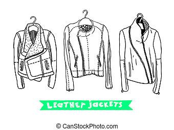 cuero, conjunto, original, chaquetas