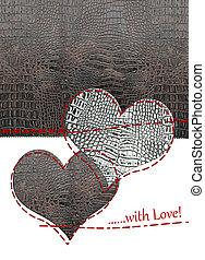 cuero, corazones, amor, tarjeta