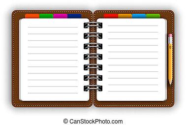 cuero, cuaderno