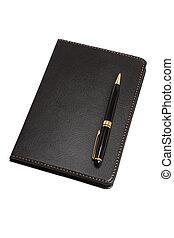 cuero, cuaderno, negro