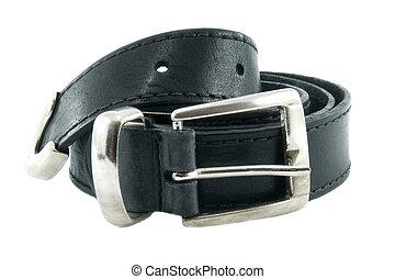 cuero, encima, aislado, fondo negro, blanco, cinturón