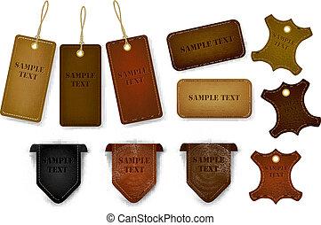 cuero, grande, tags., conjunto, etiquetas