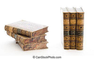 cuero, libros, pila, límite
