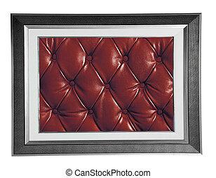 cuero, marco de la foto, rojo