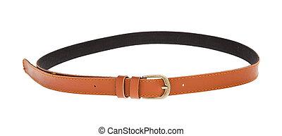 cuero, marrón, cinturón