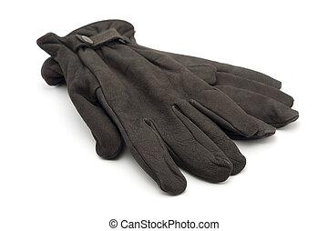 cuero, marrón, guantes