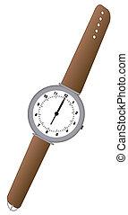 cuero, marrón, reloj, análogo, banda