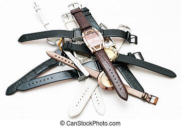 cuero, muchos, female`s, wristlets, plano de fondo, relojes de pulsera, blanco
