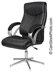cuero negro, silla de la oficina, aislado