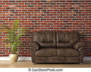 cuero, pared, ladrillo, sofá